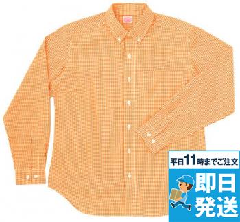 レディース長袖ギンガムチェックBDシャツ