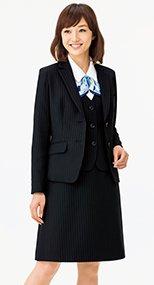[リアン]事務服 Aラインスカート ストライプ 362284