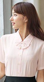 06130 en joie(アンジョア) シンプルデザインで定番3つの襟を楽しめる半袖ブラウス 無地 93-06130