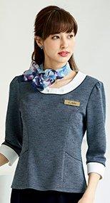 41750 en joie(アンジョア) リボン風デザインの胸元がフェミニンなツイードのプルオーバートップス 93-41750