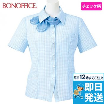 BONMAX AJ0831 [春夏用]ケイティー オーバーブラウス チェック スカーフ付き