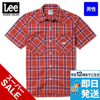 LCS46008 Lee ウエスタンチェックシャツ/半袖(男性用)