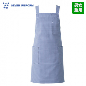 CT2572 セブンユニフォーム 胸当てエプロン(男女兼用) ギンガムチェック