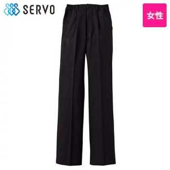 BF-5437 Servo(サーヴォ) 黒パンツ 脇ゴム入(女性用)(股下フリー)