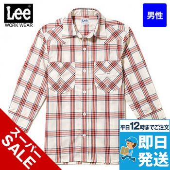 LCS46007 Lee ウエスタンチェックシャツ/七分袖(男性用)