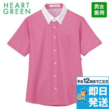 HM2839 ハートグリーン 半袖ニットシャツ(フレッシュストライプ)