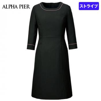 AR6882 アルファピア [通年]ワンピース(女性用) ドットストライプ(ストレッチ)