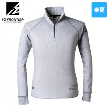 704P アイズフロンティア ストレッチプリント長袖ジップアップポロシャツ