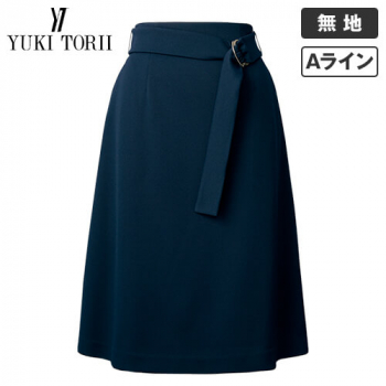 YT3308 ユキトリイ Aラインスカート 無地(ベルト付)