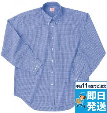 長袖ギンガムチェックBDシャツ