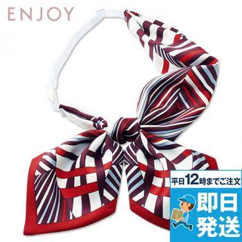 EAZ724 enjoy [通年]シャープな幾何学柄で凛としたクラシカルな印象のリボンスカーフ