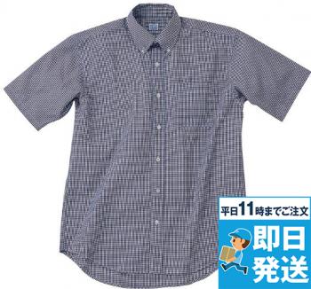 半袖ギンガムチェックBDシャツ