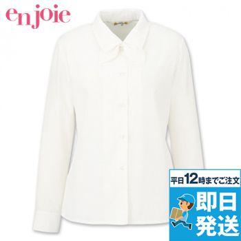 en joie(アンジョア) 01060 [通年]光沢のストライプがシャープで華やかな長袖ブラウス(リボン付)