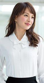en joie(アンジョア) 01170 ふんわりオーラの丸襟に優しい印象のリボン付き長袖ブラウス 93-01170