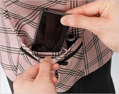 機能的なワイドポケット|PHSと印鑑用のスペースをつけたワイドポケット。取り出しやすくて便利です。