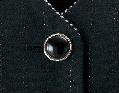 シルバー縁の艷やかな黒ボタン