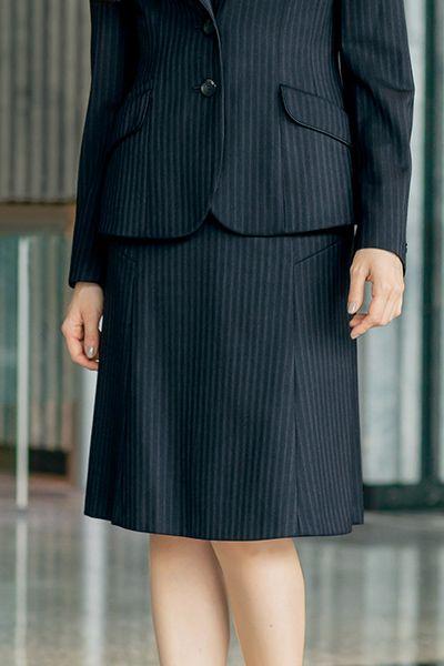 AR3848 アルファピア [通年]セミフレアースカート ストライプ[防シワ商品]