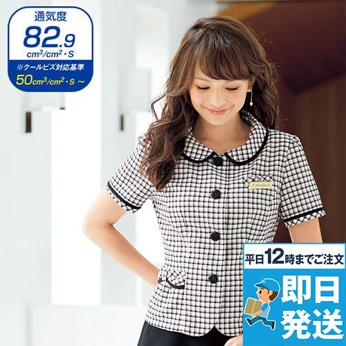 en joie(アンジョア) 26390 [春夏用]丸襟とポケットのリボンがかわいいチェック柄オーバーブラウス