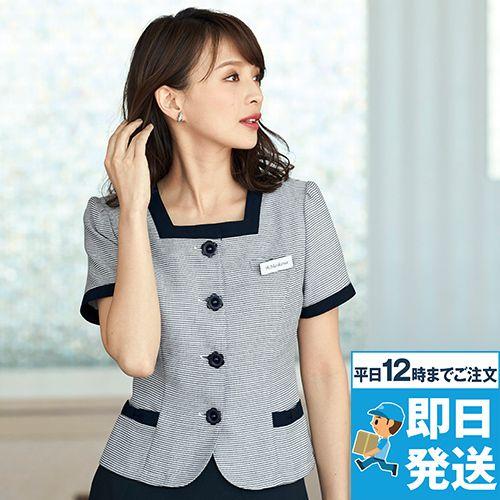en joie(アンジョア) 86415 [春夏用]スクエア襟×ネイビーの配色!ボーダー柄のサマージャケット