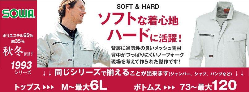 桑和作業服の1993。ソフトな着心地で背裏にメッシュ素材をつけました