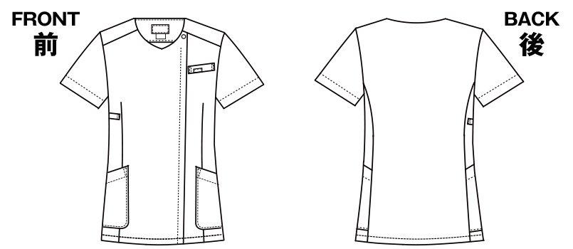 7027SC FOLK(フォーク) レディース フラワードットジップスクラブのハンガーイラスト・線画