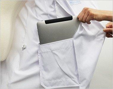 左内側 タブレット型PC対応ポケット付き