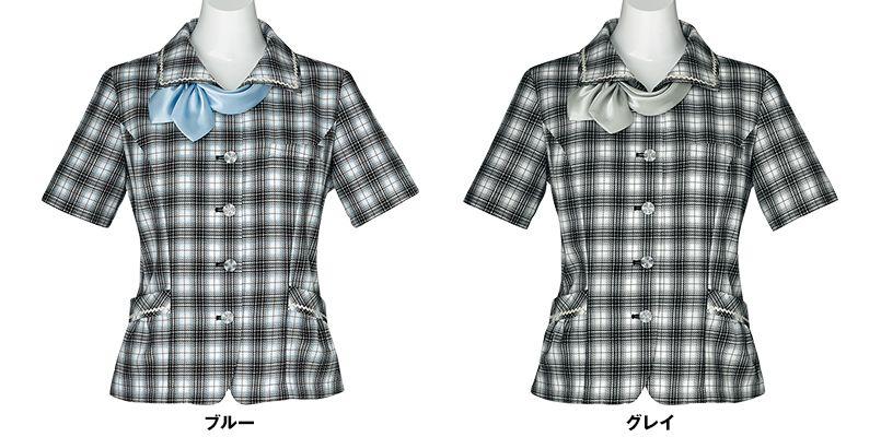 AJ0828 BONMAX/イリヤ オーバーブラウス チェック スカーフ付き 色展開