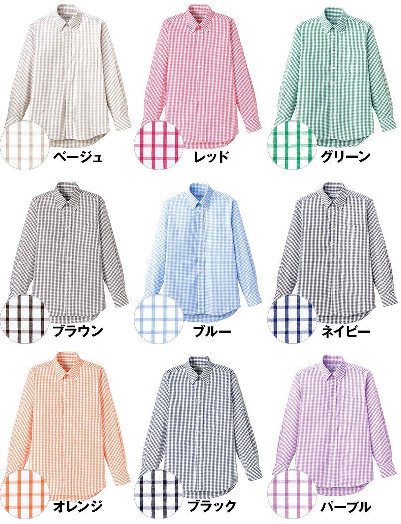 FB4506U FACEMIX グラフチェックシャツ/長袖(男女兼用)ボタンダウン 色展開