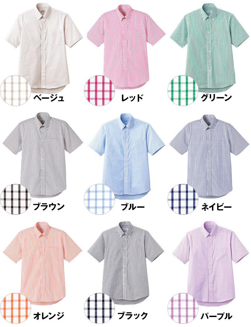 FB4507U FACEMIX グラフチェックシャツ/半袖(男女兼用)ボタンダウン 色展開