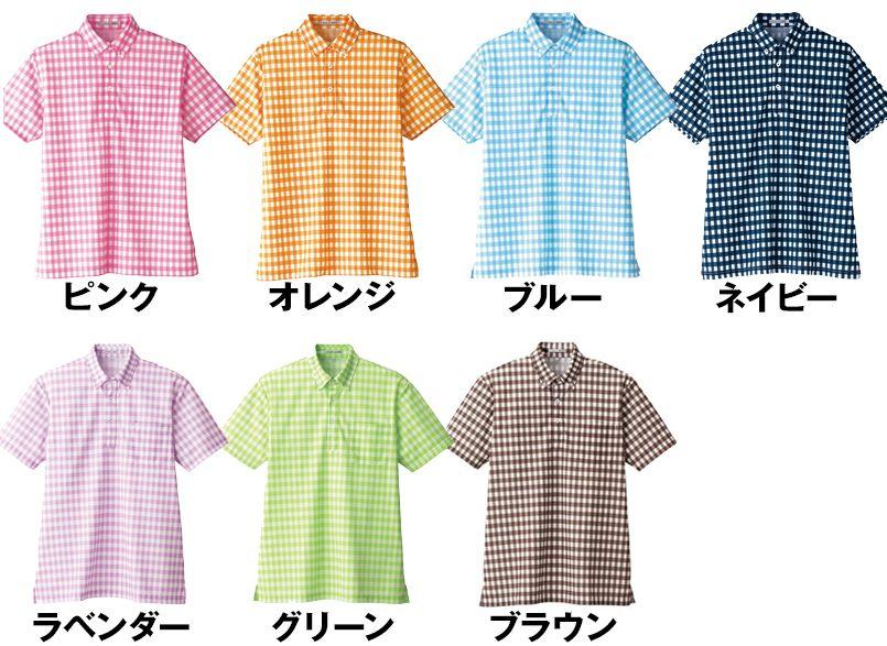 FB4523U FACEMIX チェックプリントドライポロシャツ/半袖(男女兼用)ボタンダウン 色展開