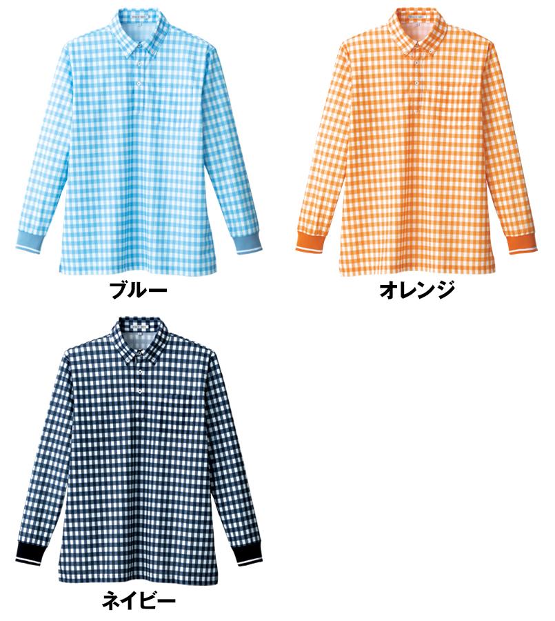 FB4536U ナチュラルスマイル 長袖 チェックプリントドライポロシャツ(男女兼用)ボタンダウン 色展開