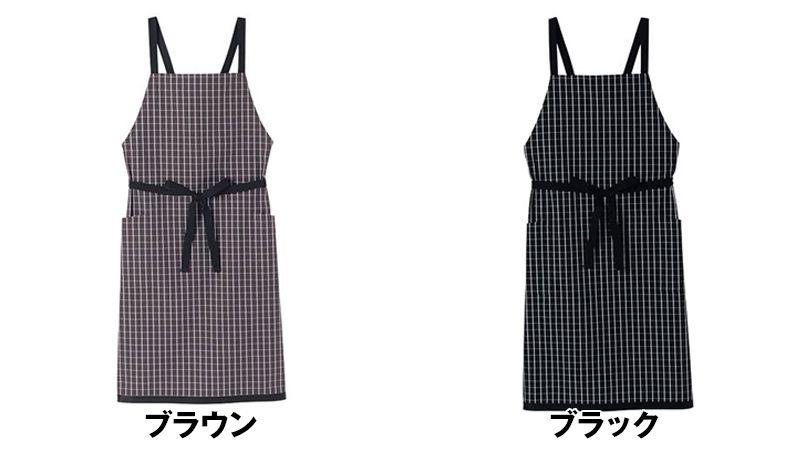 FK7121 FACEMIX 胸当てエプロンチェック柄 色展開