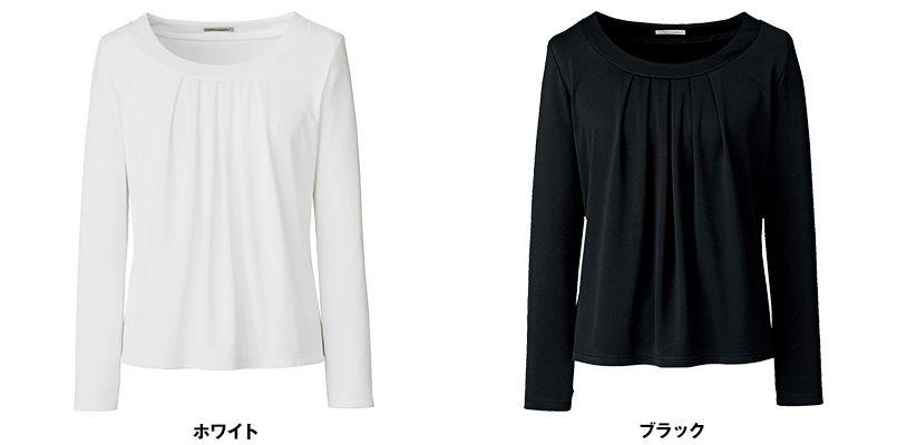 BONMAX KK7502 [通年]アミーザ 胸元タック入り 長袖ニット 色展開