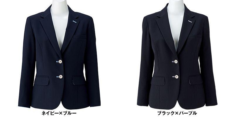 BONMAX LJ0762 [春夏用]レジェール 七分袖テーラードジャケット ストライプ 色展開