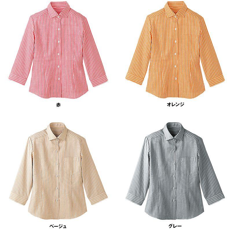 24211 BONUNI(ボストン商会) シャツ/七分袖(女性用) ストライプ 色展開