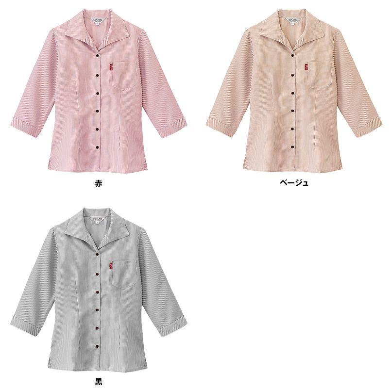 34201 BONUNI(ボストン商会) イタリアンカラーシャツ/七分袖(女性用)ストライプ 色展開