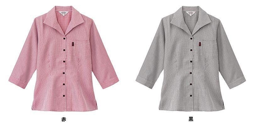 34202 BONUNI(ボストン商会) イタリアンカラーシャツ/七分袖(女性用) チェック 色展開