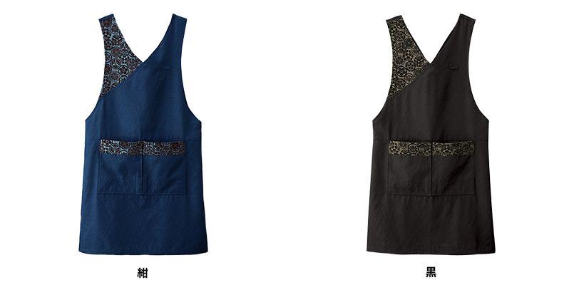 47201 BONUNI(ボストン商会) 家紋柄和風胸当てエプロン(女性用) 色展開