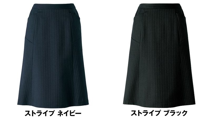 AR3848 アルファピア [通年]セミフレアースカート ストライプ[防シワ商品] 色展開