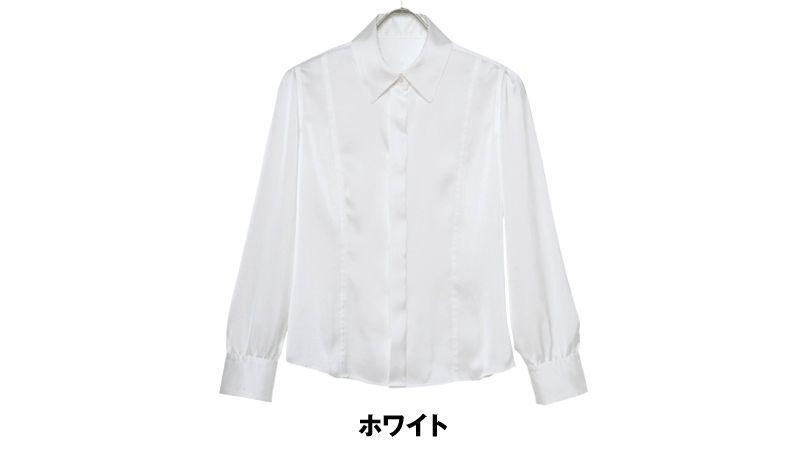 ユキトリイ YT1588 [秋冬用]上質サテン長袖ブラウス 色展開