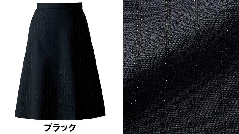 en joie(アンジョア) 51703 [通年]シルバーラメが特徴的なストライプ柄のフレアースカート 色展開