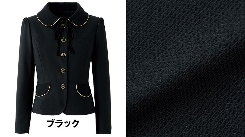 en joie(アンジョア) 81650 [秋冬用]上質感あふれるディテールで品格あるジャケット(リボン付き) 無地 色展開
