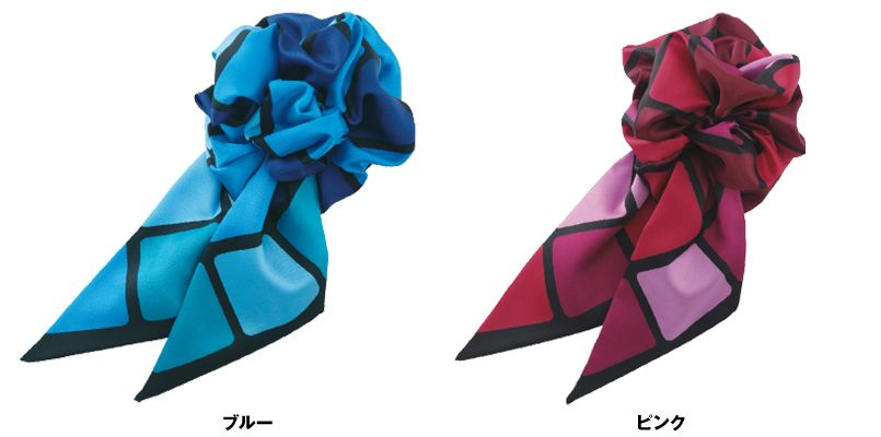 EAZ560 enjoy コスメパレットのような華やかなコサージュミニスカーフ 色展開