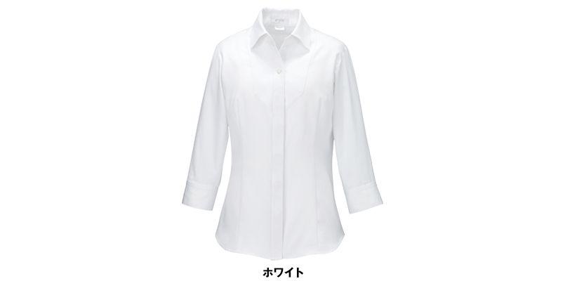 ESB597 enjoy シルクのような光沢でふんわりと柔らかな肌触りの七分袖シャツブラウス 色展開