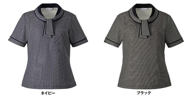 ESP556 enjoy [春夏用]気品あふれるサマースタイル×知的なマリンテイスト オフィスポロシャツ ボーダー 色展開
