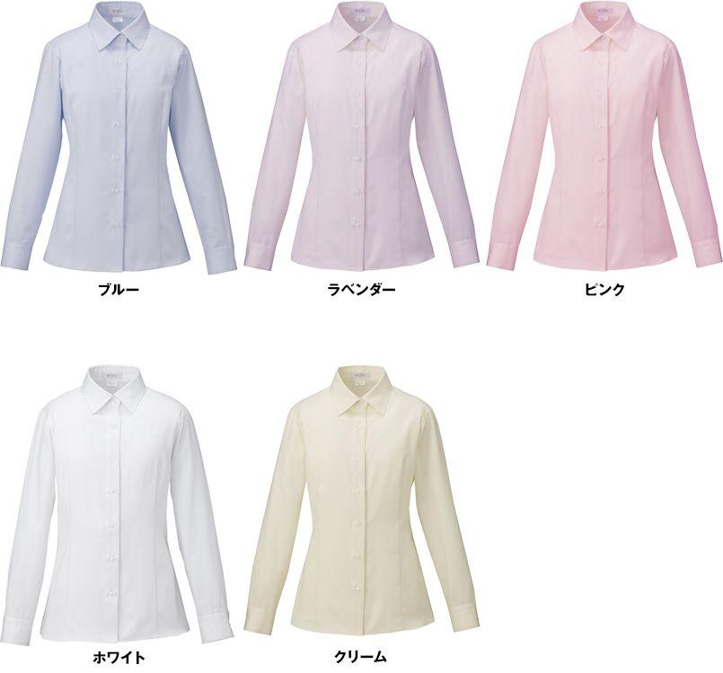 EWB592 enjoy [通年]シルクのような光沢でふんわりと柔らかな肌触りの長袖シャツブラウス 色展開