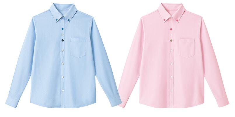 HM2418 ハートグリーン 長袖ニットシャツ(男女兼用) 色展開