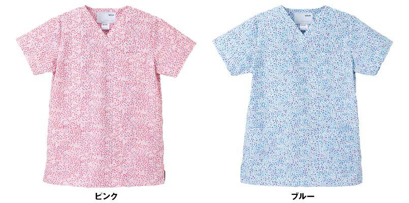 LBS4337 ナガイレーベン(nagaileben) リバティプリント スクラブ(女性用) 色展開