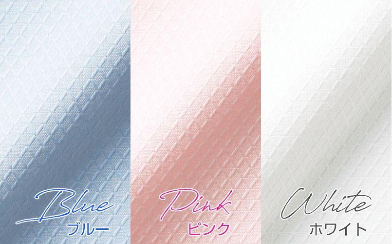 BONMAX RB4543 繊細なダイヤ織りが美しい 透けにくい半袖ブラウス カラーUP