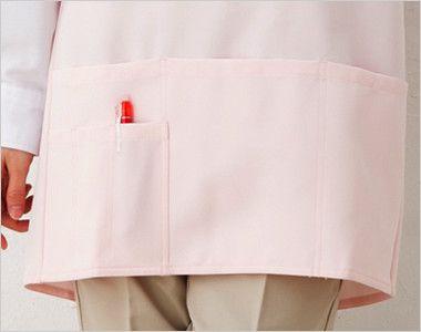 861372 アイトス/ルミエール 胸当てエプロン(丈短め)(男女兼用) 収納力抜群の大きなポケット